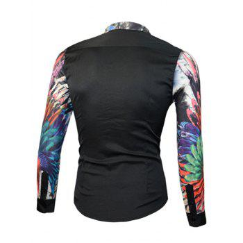 Splicing Design 3D Colorful Floral Print Long Sleeve Men's Shirt - BLACK XL
