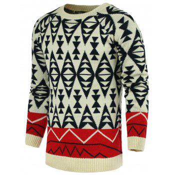 Buy Geometric Pattern Color Block Spliced Round Neck Long Sleeve Men's Sweater WHITE