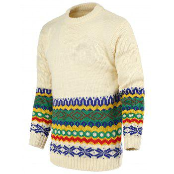 National Wind Geometric Pattern Round Neck Long Sleeve Men's Sweater
