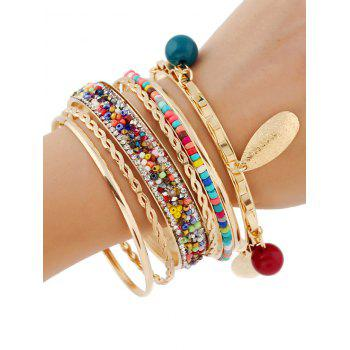 Rhinestone Beads Layered Bracelets - GOLDEN
