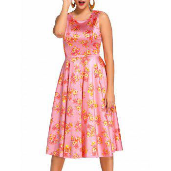 Retro Sleeveless Floral Prom Dress - PINK PINK