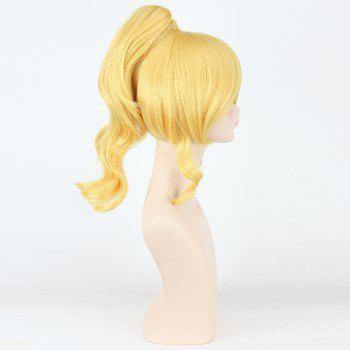 Fashion Yellow Fluffy Wave With Ponytail Love Live Ayase Eli Uniform Style Cosplay Wig -  YELLOW