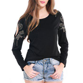 Stylish Open Shoulder Beading Tee
