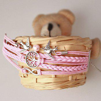Tree of Life Infinity Bird Strand Bracelet - PINK