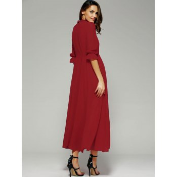 Stand Collar Long Swing Chiffon Formal Prom Maxi Dress - RED XL