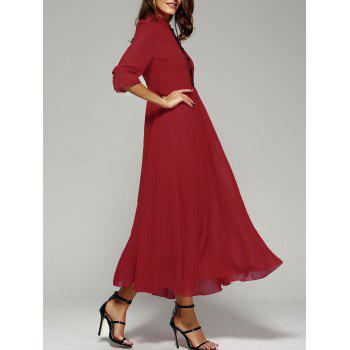Stand Collar Long Swing Chiffon Formal Prom Maxi Dress