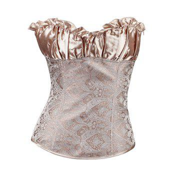 Stunning Lace Up Ruffle Paisley Print  Corset With G-String