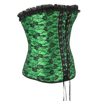 Stunning Lace Up Green Ruffle Corset With G-String - GREEN S