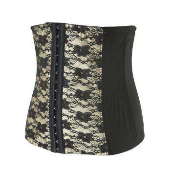 Stunning Floral Spliced Tight Lacing Corset - APRICOT 4XL
