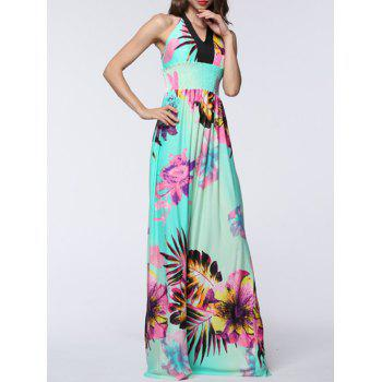 Long Halter Backless Floral Prom Dress
