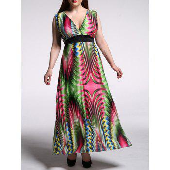 Oversized Abstract Print High Waist Beach Dress