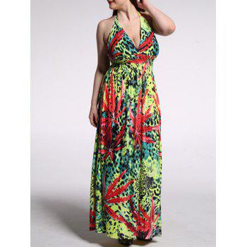 Oversized Leopard Print High Waist African Halter Maxi Dress