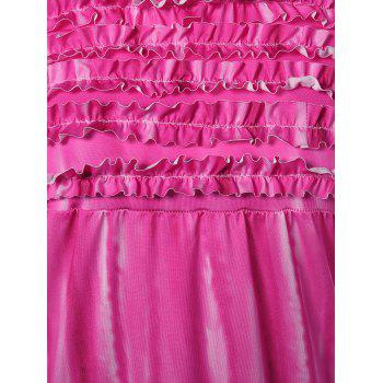 Ombre Mini Bandeau Strapless Bodycon Summer Dress - ROSE RED L
