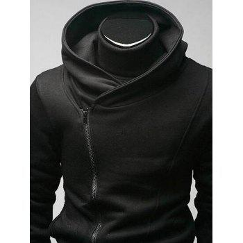 Side Zip Up Long Sleeve Men's Plain Hoodie, BLACK, 2XL in Hoodies ...