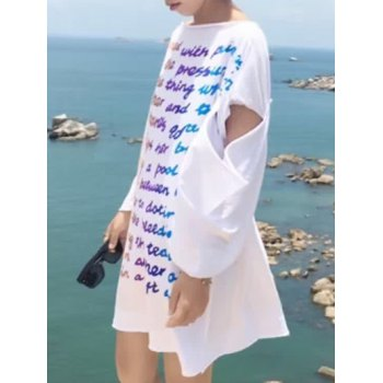 Trendy Colorful Letter Printed Cut Out T-Shirt Dress For Women - WHITE ONE SIZE
