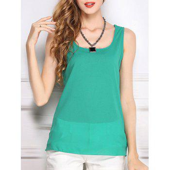 Trendy U-Neck Solid Color Chiffon Women's Tank Top