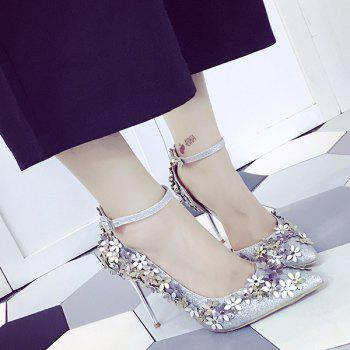 Chic Ankle Strap and Flowers Design Women's Pumps