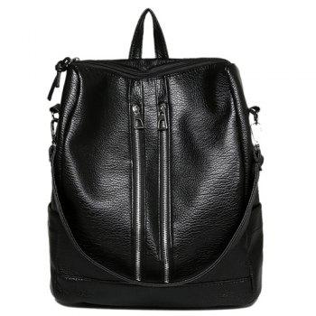Fashionable Zippers and Black Design Women's Backpack - BLACK BLACK