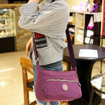 Leisure Nylon and Zip Design Women's Shoulder Bag -  PURPLE