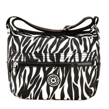 Concise Zipper and Stripes Design Women's Shoulder Bag - WHITE AND BLACK WHITE/BLACK