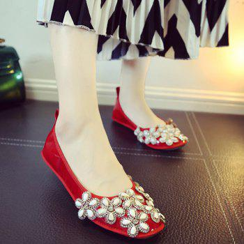Casual Rhinestones and Square Toe Design Women's Flat Shoes