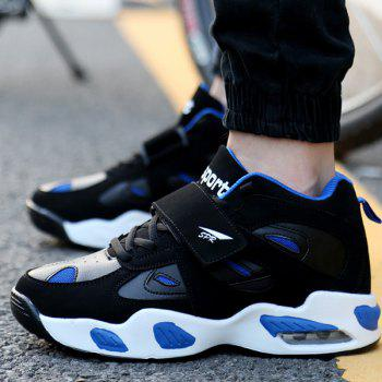 Stylish Splicing and Color Block Design Men's Athletic Shoes - BLUE/BLACK 43