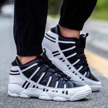 Trendy Stripes and Lace-Up Design Men's Athletic Shoes