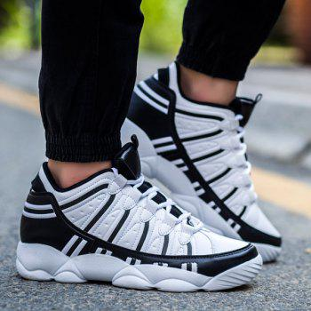 Buy Trendy Stripes Lace-Up Design Men's Athletic Shoes WHITE