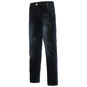 Jeans+Cotton Straight Leg Cat's Whisker Zipper Fly Denim Pants