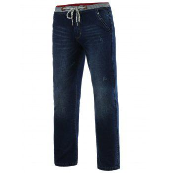 Jeans+Cotton Straight Leg Cat's Whisker Lace-Up Slimming Denim Pants
