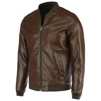 PU-Leather+Polyester Solid Color Stand Collar Long Sleeve Jacket