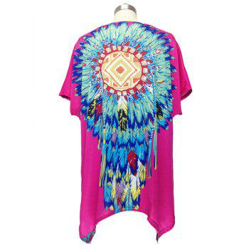 Ethnic Feather Print Loose Fitting Blouse For Women - ROSE RED ONE SIZE