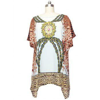 Fashionable Cap Sleeve Chains Print Blouse For Women