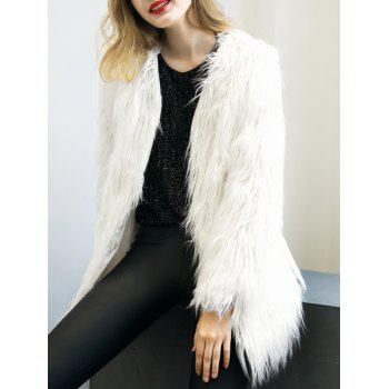 Colllarless Open Front Faux Fur Coat