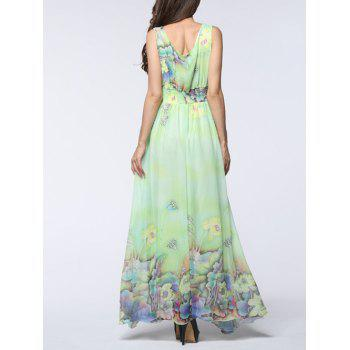 Floral Asymmetric Chiffon Maxi Flowy Dress - LIGHT GREEN 7XL
