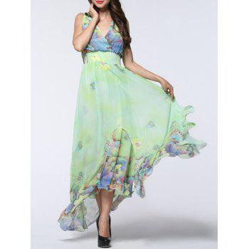 Floral Print Asymmetric Chiffon Beach Dress