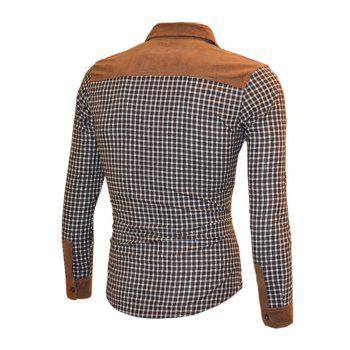 Turn-Down Collar Suede Splicing Plaid Shirt - BROWN 2XL