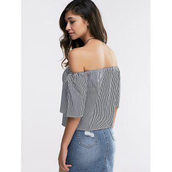 Fashionable Women's Off-The Shoulder 3/4 Sleeve Loose-Fitting Stripe Blouse - STRIPE M