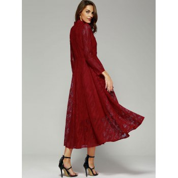 Long Sleeve Stand Collar Wine Red Lace Dress - WINE RED XL