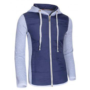 Color Block Polyester Splicing Design Hooded Thicken Men's Hoodie - GRAY L