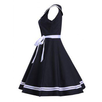 Sailor Collar Sleeveless Skater Dress - BLACK S