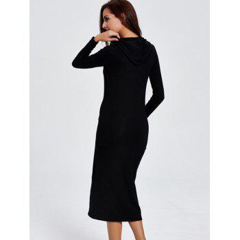 Hooded Letter Print Long Sleeve Midi Dress - BLACK M