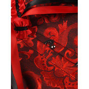 Alluring Lace-Up Slimming Women's Corset - RED/BLACK 4XL
