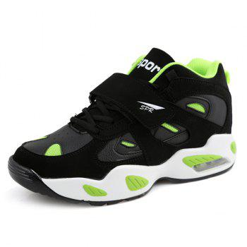 Stylish Splicing and Color Block Design Men's Athletic Shoes - BLACK/GREEN 40