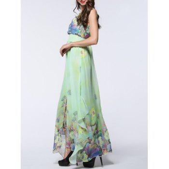 Floral Asymmetric Chiffon Maxi Flowy Dress - LIGHT GREEN 3XL