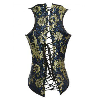 Chic Lace-Up Hot Stamping Print Women's Corset - BLUE 3XL