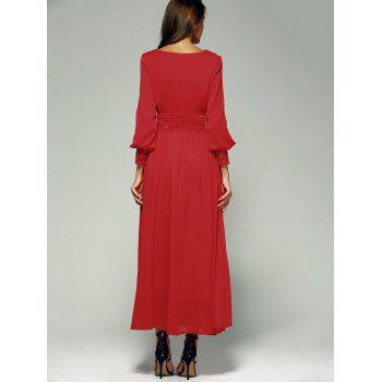 Puff Sleeve Chiffon Flowy Maxi Formal Party Dress - RED S