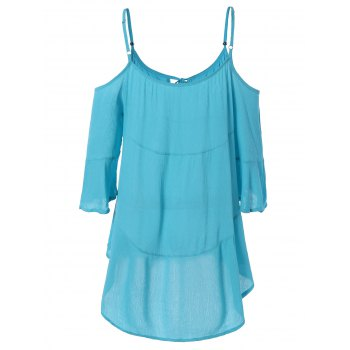 Attractive Cold Shoulder Asymmetric Casual Dress - LIGHT BLUE S