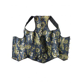 Chic Lace-Up Hot Stamping Print Women's Corset - BLUE 4XL