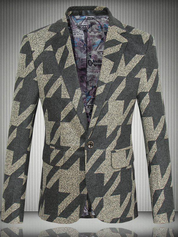 Houndstooth Pattern One-Button Lapel Long Sleeve Men's Blazer - YELLOW 4XL